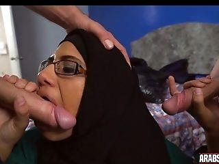 Arab In Glasses Gets Two Milky Dicks