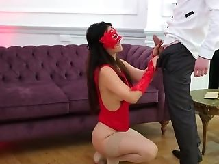 Black-haired Chick In Crimson Mask Cheats On Fiancee With His Stepson