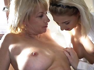 Girl-on-girl Lovemaking With Hot Female Sarah Adorable Is The Best Practice For This Granny