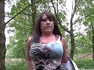 Huge-boobed Whore Covered In Jizm In A Public Park