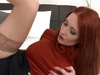 This Raunchy Red-haired Is Having A Quickie With Her Clothes On