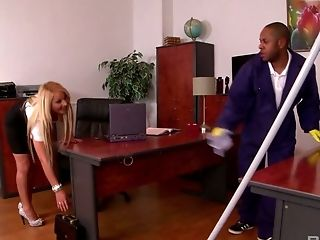 Spunk-thirsty Blonde Lenna Tempts Black Cleaner And Gulps His Massive Dong