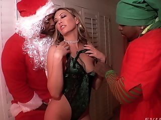 Two Black Dudes In Santa Costumes Fuck Sexy Snow Maiden Adira Allure